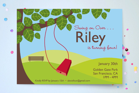 A day in the park Children's Birthday Party Invitations