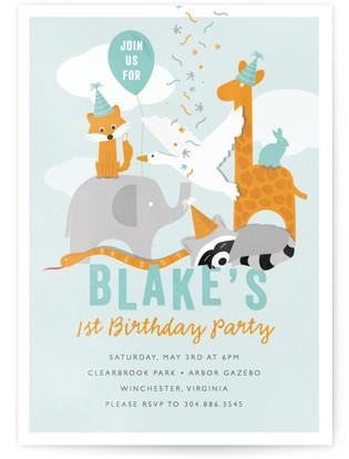 Party Animal Children's Birthday Party Invitations