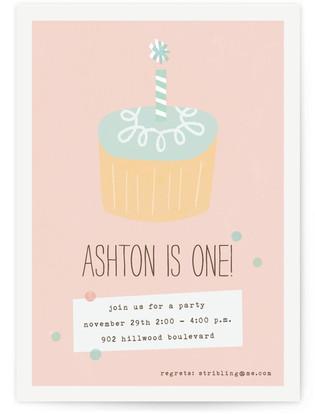 Simple Cupcake Children's Birthday Party Invitations