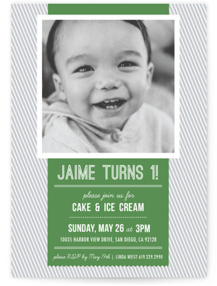 Modern Banner & Stripes Children's Birthday Party Invitations