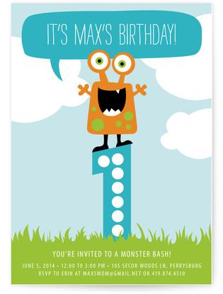 Little Monster Bash Children's Birthday Party Invitations