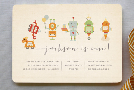 Robot Parade Children's Birthday Party Invitations