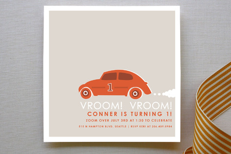 Vroom Vroom Car Children's Birthday Party Invitations