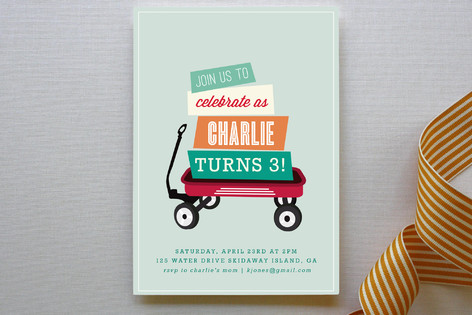 Wagon Wheels Children's Birthday Party Invitations