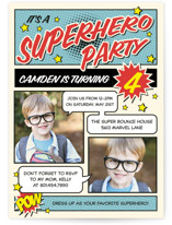 Superhero Birthday Party Children's Birthday Party Invitations