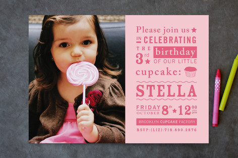 Littlest Cupcake Children's Birthday Party Invitations