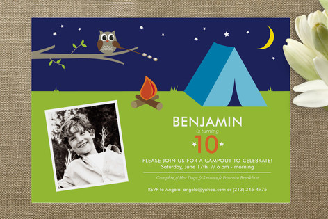 Camp Out! Children's Birthday Party Invitations
