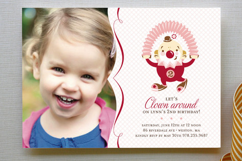 Clowning Around Children's Birthday Party Invitations