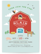 Big Red Barn Kids Party Invitations