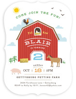 Big Red Barn Children's Birthday Party Invitations