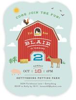 Big Red Barn Children's Birthday Party Invitations