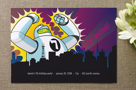 Robot Attack Children's Birthday Party Invitations
