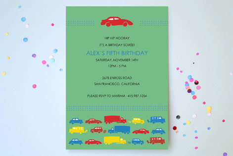 Modern Transportation Children's Birthday Party Invitations