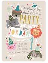 Party Hat Animals Children's Birthday Party Invitations
