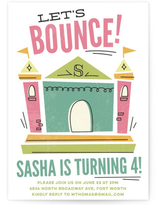 Let's Bounce Children's Birthday Party Invitations