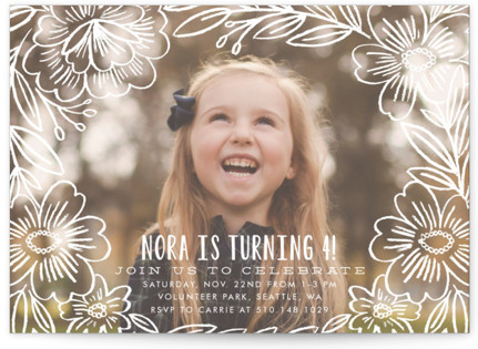 Penciled Flowers Children's Birthday Party Invitations