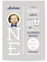 One Little Man Children's Birthday Party Invitations