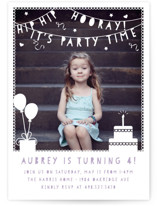 Party Time Banner Children's Birthday Party Invitations