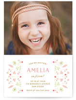 Floral Frame Fancy Children's Birthday Party Invitations
