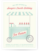 Ice Cream Cart Children's Birthday Party Invitations