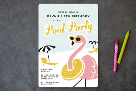 Fancy Flamingo Children's Birthday Party Invitations