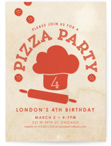 Let's Make Pizza Children's Birthday Party Invitations