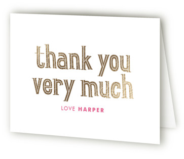 Big One Foil-Pressed Children's Birthday Party Thank You Cards