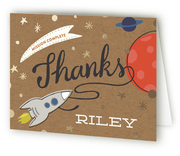 Mission To Mars Foil-Pressed Children's Birthday Party Thank You Cards