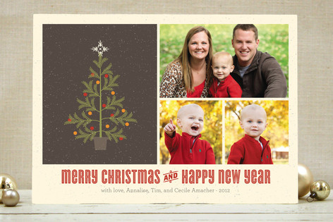 Retro Holiday Tree Christmas Photo Cards