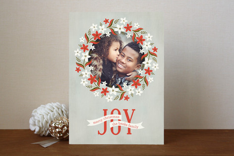 Weathered Wreath Christmas Photo Cards