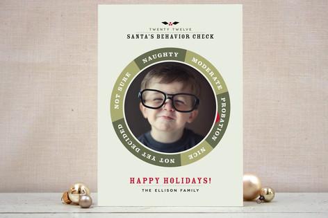 Santa's Behavior Check Christmas Photo Cards