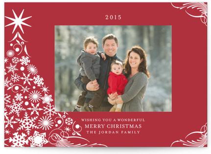 Snowflake Tree Christmas Photo Cards