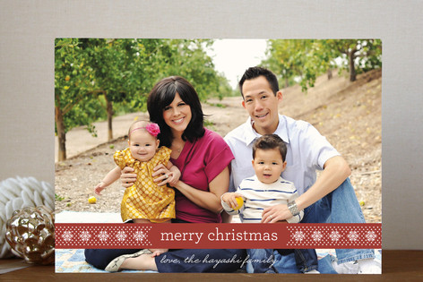 Fair Isle Ribbon Christmas Photo Cards