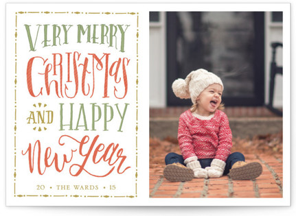 Vintage Lettered Wishes Christmas Photo Cards