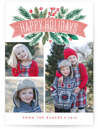 Painted Banner Christmas Photo Cards