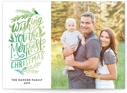 Merriest Lettering Christmas Photo Cards