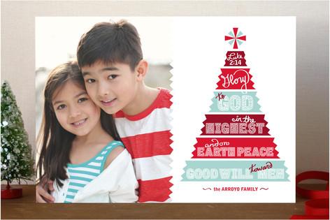 Papercut Tree Christmas Photo Cards