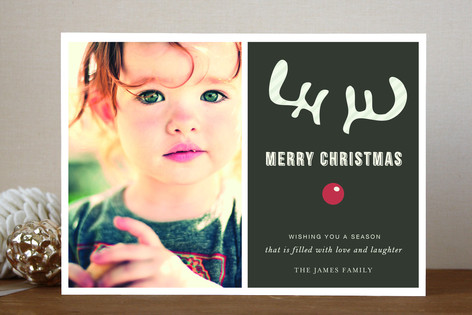 Joyeux Noel + Reindeer Christmas Photo Cards