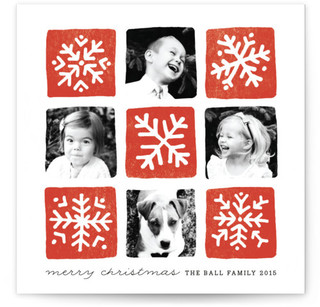 Snowflake Squares Christmas Photo Cards