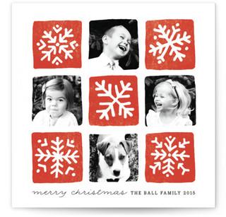 Snowflake Squares Christmas Photo Cards