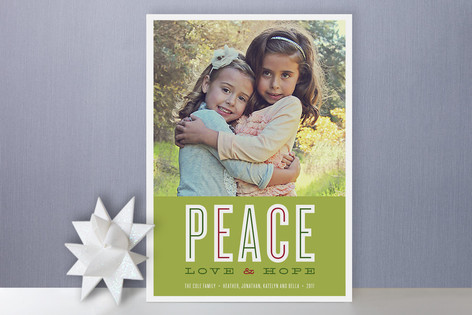 Peace Love and Hope Christmas Photo Cards