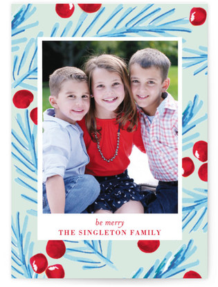 Marker Holly Christmas Photo Cards