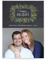 Winter Foliage Frame Christmas Photo Cards