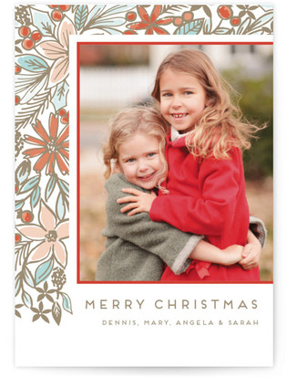 Golden Foliage Christmas Photo Cards