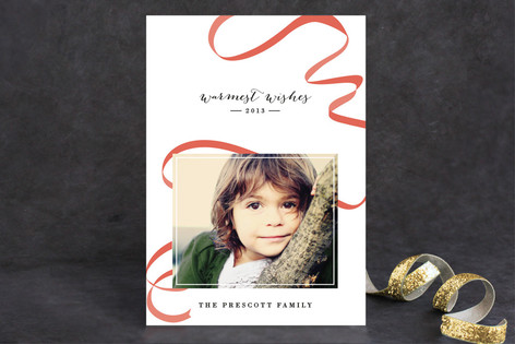 Ribbon Happy Christmas Photo Cards
