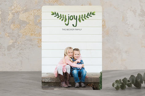 Hand-Painted Branches Christmas Photo Cards