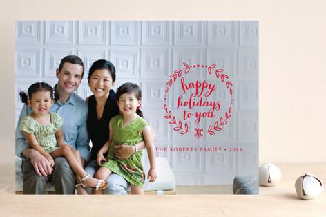 Wreath Noel Christmas Photo Cards
