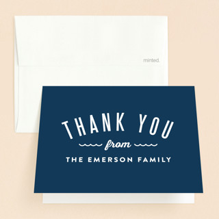 Waves Overlay Baptism and Christening Thank You Cards