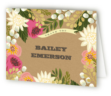 Floral Canopy Baptism and Christening Thank You Cards
