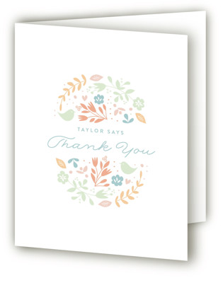 Floral Framed Baptism and Christening Thank You Cards